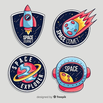 Pack of modern space stickers