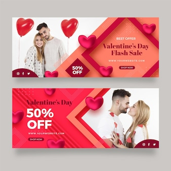 Pack of modern valentine's day banners with photo