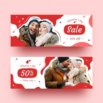 Pack of modern valentine's day banners
