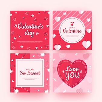 Pack of modern valentine's day posts template