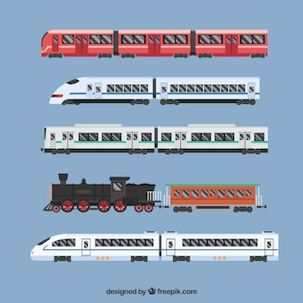 Pack of modern and vintage trains in flat design