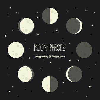 Pack of moon phases in flat design