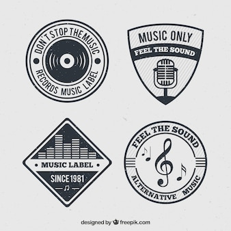 Pack of music badges in retro design