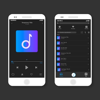 Confezione di interfaccia app per lettore musicale