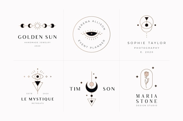 Pack of mystic and esoteric logo