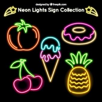 Pack of neon food signs