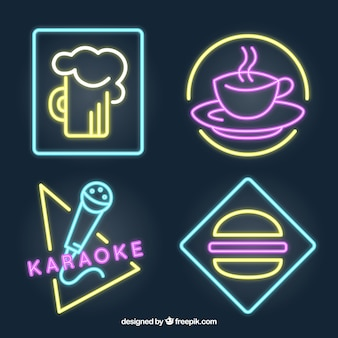 Pack of neon signs for a restaurant