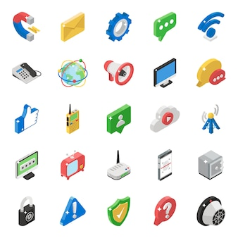 Pack of networking isometric icons