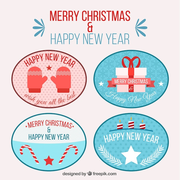 Pack of new year and christmas pretty stickers
