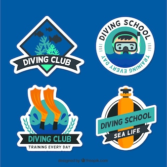 Pack of nice diving labels