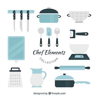 Confezione di elementi piacevoli per la cottura in design piatto