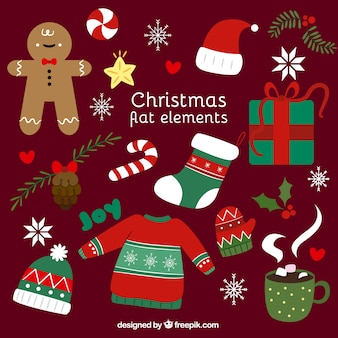 Pack of nice flat elements ready for christmas celebration