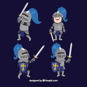 Pack of nice knight character in different postures