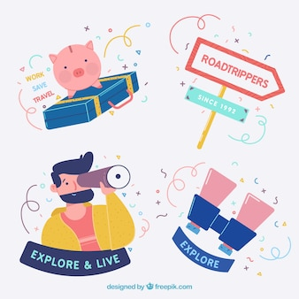 Confezione di bei adesivi di viaggio con personaggi e elementi