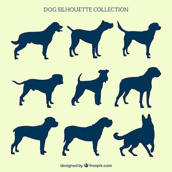Pack of nine dog silhouettes
