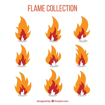 Pack of nine flames with three colors