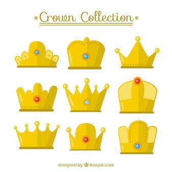 Pack of nine gold crowns