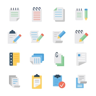 Pack of notepad flat icons