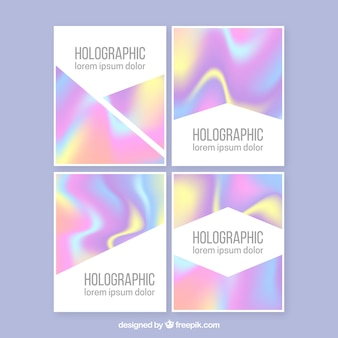Pack of abstract holographic cards