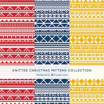 抽象的なニットクリスマスパターンのパック
