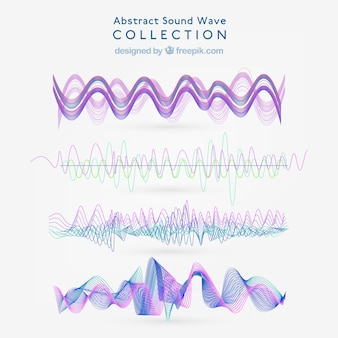 Pack of abstract sound waves with purple details
