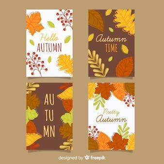 秋のカードフラットデザインのパック