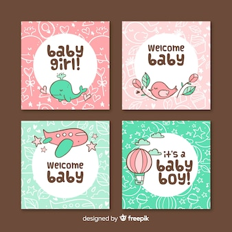 Pack of baby shower cards