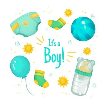 男の子のためのベビーシャワーの要素のパック