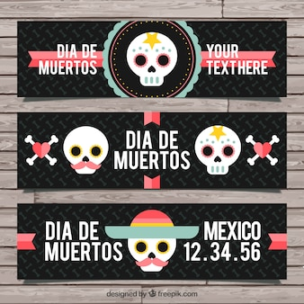 メキシコの頭蓋骨と美しいバナーのパック