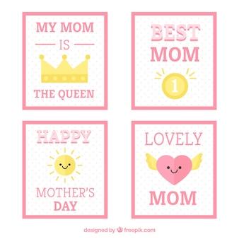母の日のためのピンクの要素を持つ美しいカードのパック
