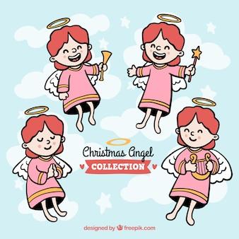 아름다운 손으로 그린 크리스마스 천사 팩