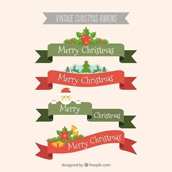 크리스마스 요소와 아름 다운 리본 팩