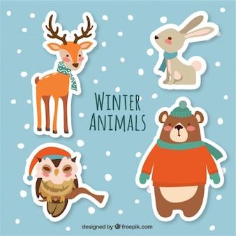美しい冬の動物のステッカーのパック