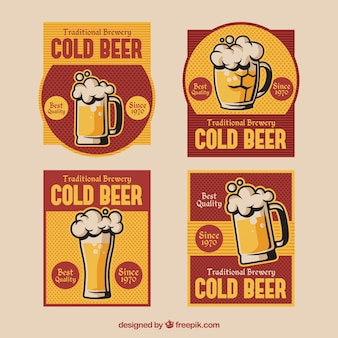 Pack of beer stickers in retro style