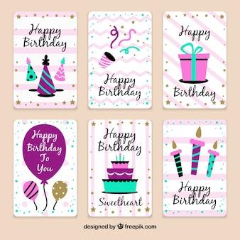 빈티지 스타일의 생일 축하 카드 팩