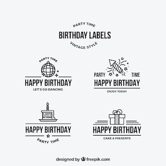 선형 디자인의 생일 스티커 팩