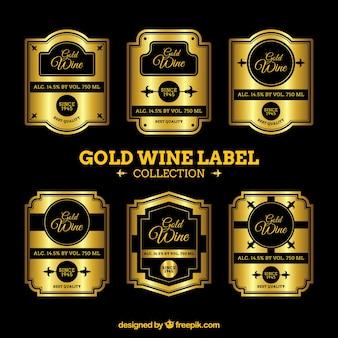 Пакет черных и золотых винных наклеек