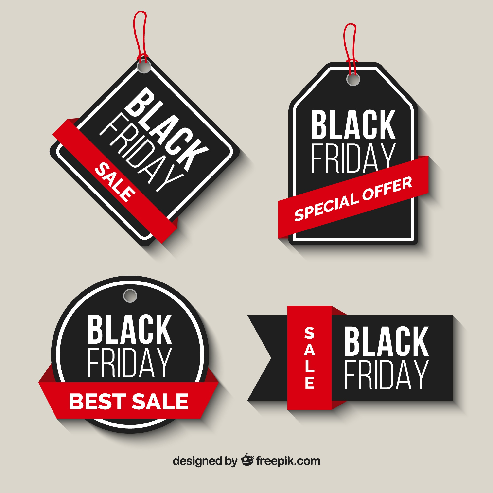 Pack of black friday sale labels with red ribbons