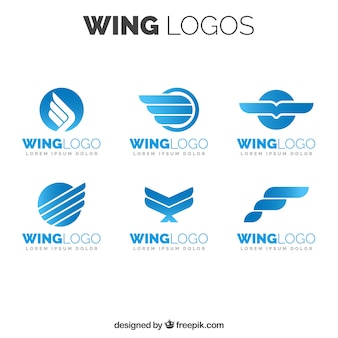 Pack of blue wings logos in flat design