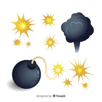 폭탄과 폭발 팩 만화 스타일