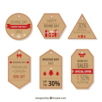 Pack of boxing day labels with red frames