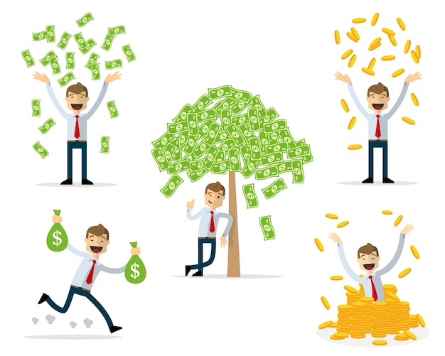 ビジネスマンのパックはお金を持って、豊かに