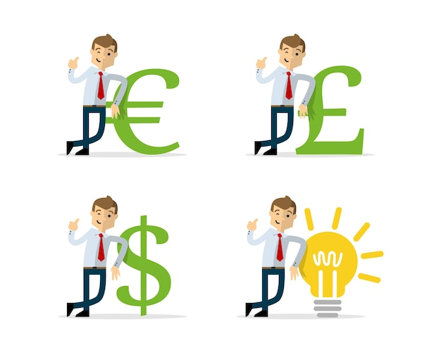 Бизнесмен на деньги значок и лампочка