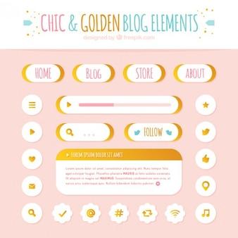 金色の詳細とボタンやブログのアイコン要素のパック