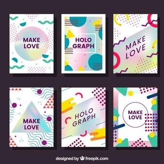 抽象的な形とホログラフィック効果を持つカードのパック