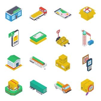 Пакет грузовых изометрические иконы