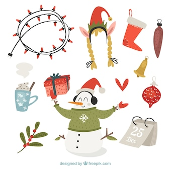 Pack of christmas accessories and vintage snowman