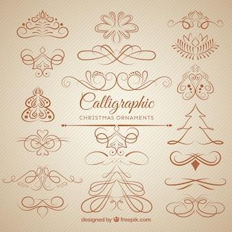 Пакет рождественских каллиграфических элементов