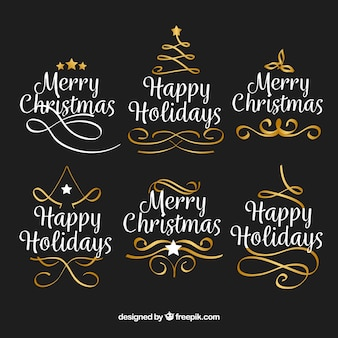 Pack of christmas calligraphic ornaments
