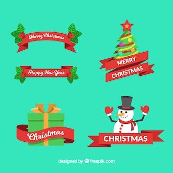 빨간 리본으로 크리스마스 요소 팩